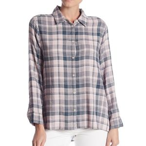 Melrose and Market Side Button Plaid Top